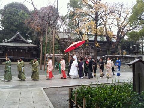 大国魂神社 結婚式着付けとヘアメイク地毛新日本髪
