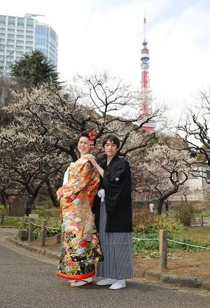 和装前撮り東京タワー紅梅ロケーション