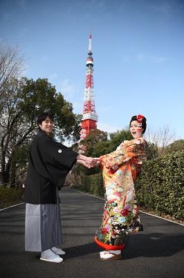 和装前撮り東京タワー桜