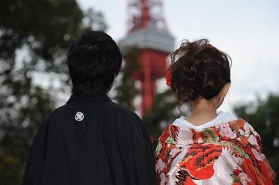 和装結婚写真 東京タワー