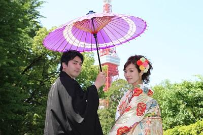 和装前撮り 結婚式 東京タワー