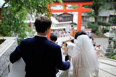 江島神社結婚式 ウエディングドレス