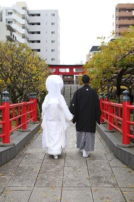 亀戸天神結婚式 白無垢着付け