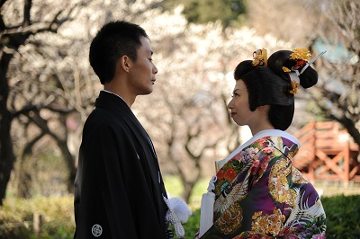 和装前撮り梅と桜