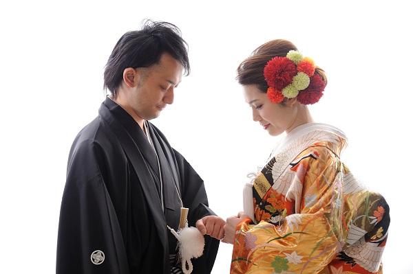 和装色打掛 神社結婚式 着付け