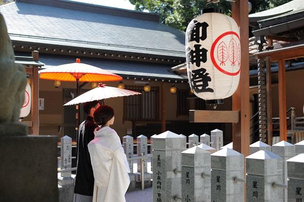 星川杉山神社結婚式披露宴和装白無垢着付け