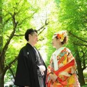 銀杏並木ロケ和装
