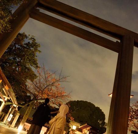 ナイトウエディングロケ和装神社結婚式と披露宴東京