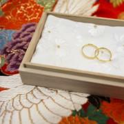 和装結婚式指輪の交換 リングピロー
