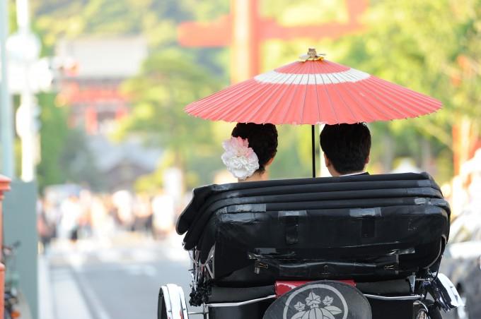 鎌倉結婚式和装 人力車